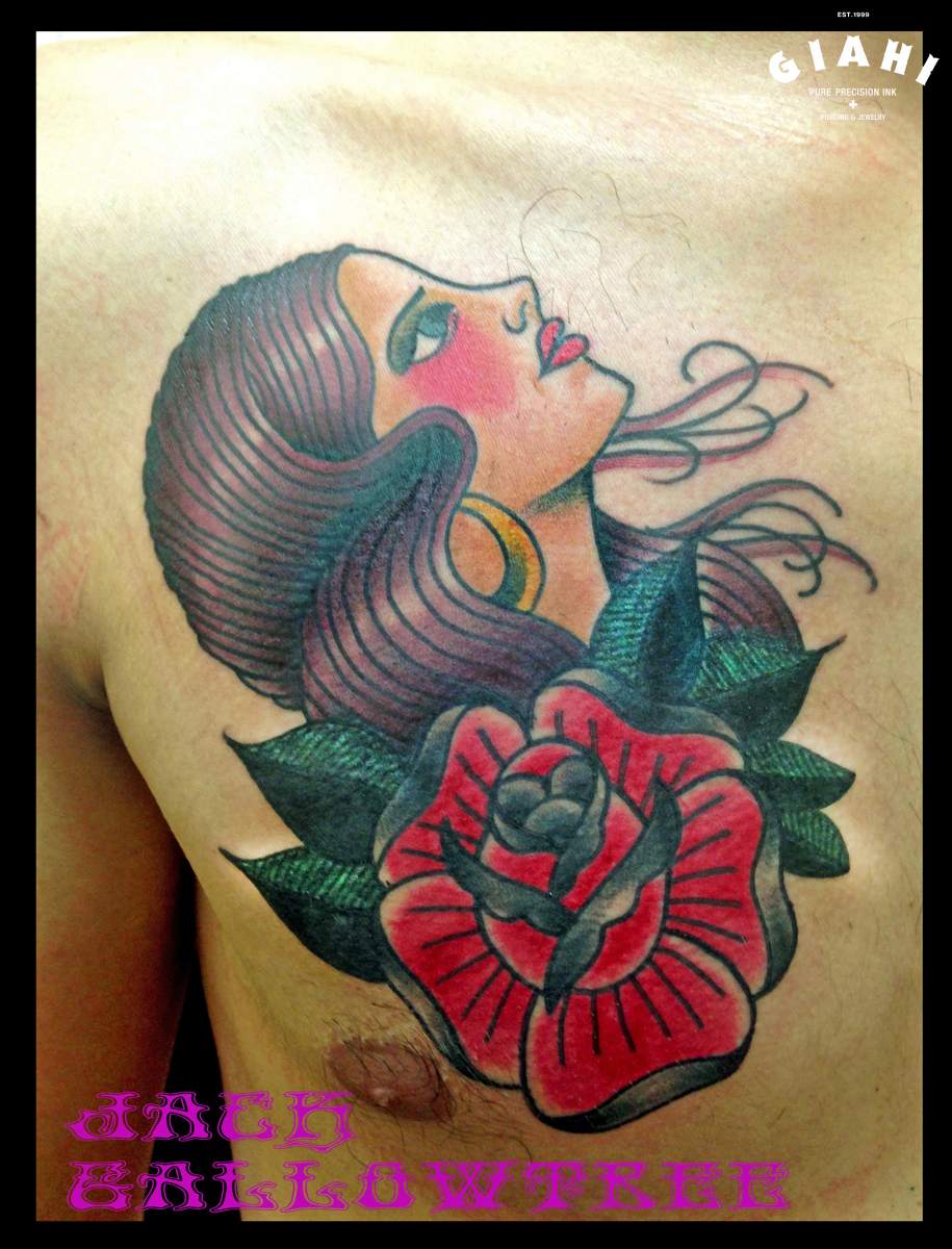 Look Up Girl Old School tattoo by Jack Gallowtree