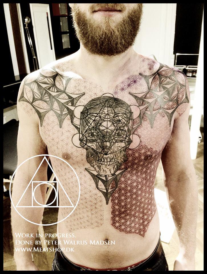 Lots of dots, lots of Asanoha. By Peter Madsen, Meatshop Tattoo, Copenhagen, Denmark.
