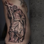 Man with Crucifix tattoo by Noah Minuskin