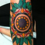 Mandala Flower Old School tattoo by Three Kings Tattoo