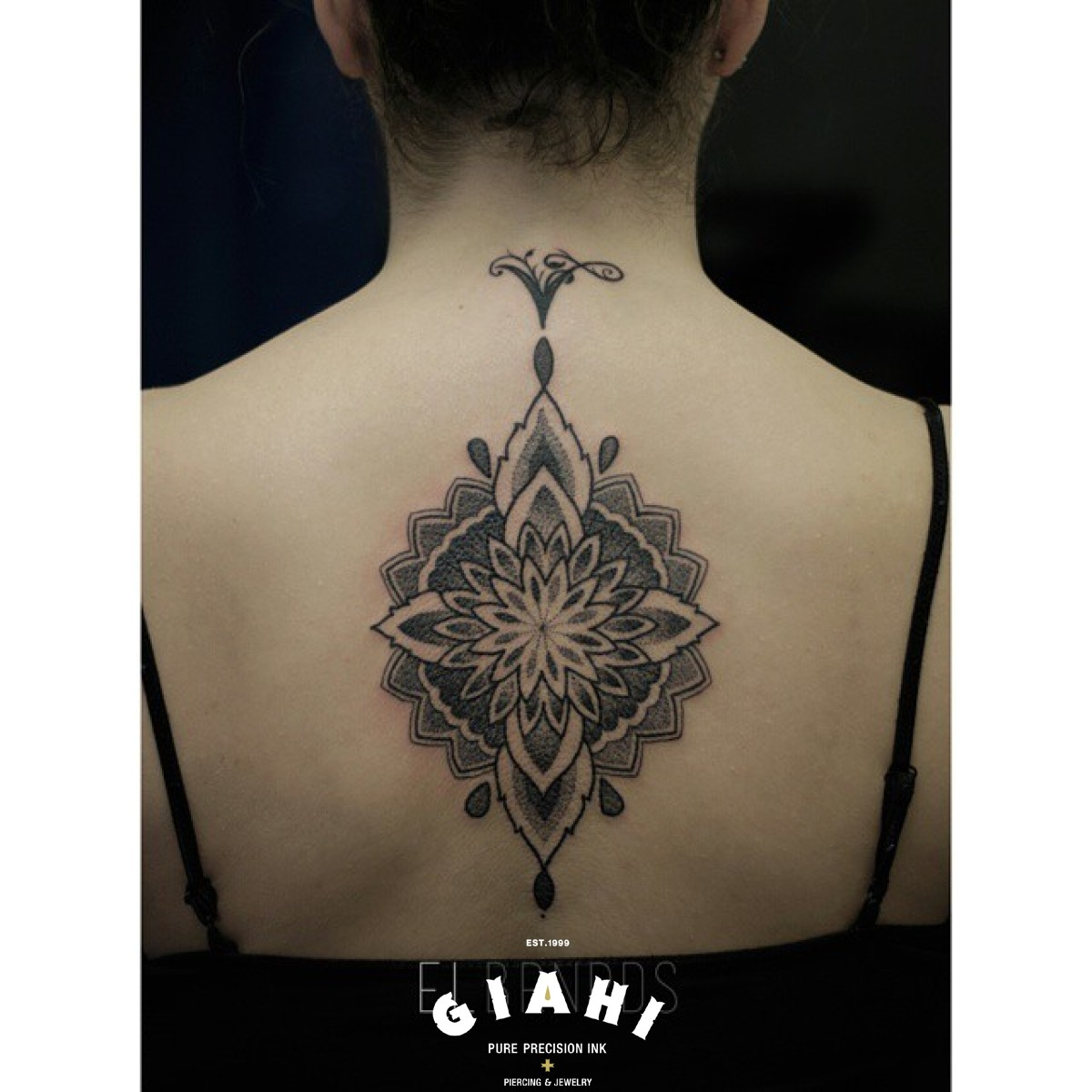 Mandala Flower Spine Dotwork tattoo by Elda Bernardes