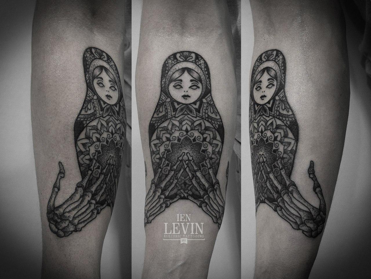 Mandala Russian Matryoshka Skeleton Hands Dotwork tattoo by Ien Levin