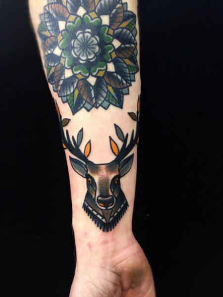 Mandala and Stag Old School tattoo by Matt Cooley