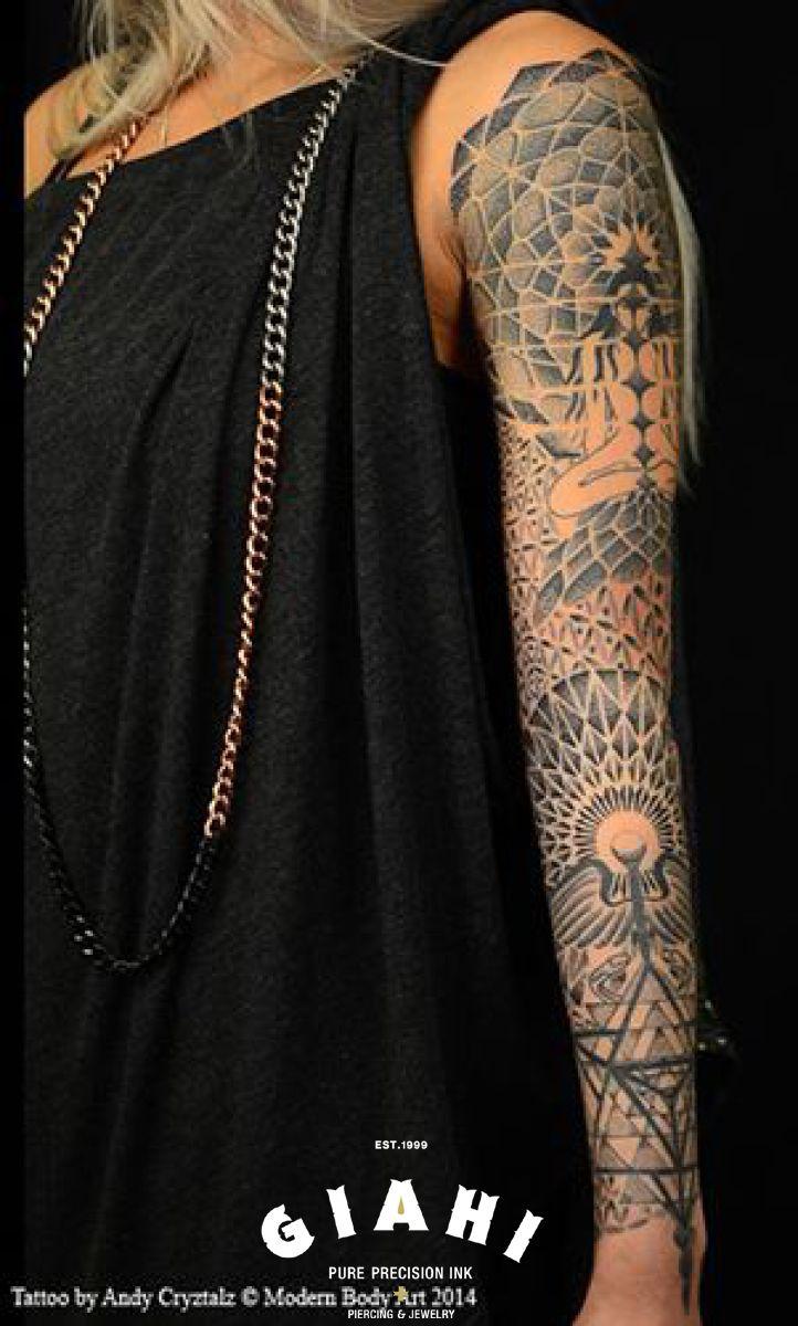Mandalas Dotwork tattoo sleeve by Andy Cryztalz