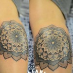 Many Levels Flower Mandala Dotwork tattoo by Andy Cryztalz