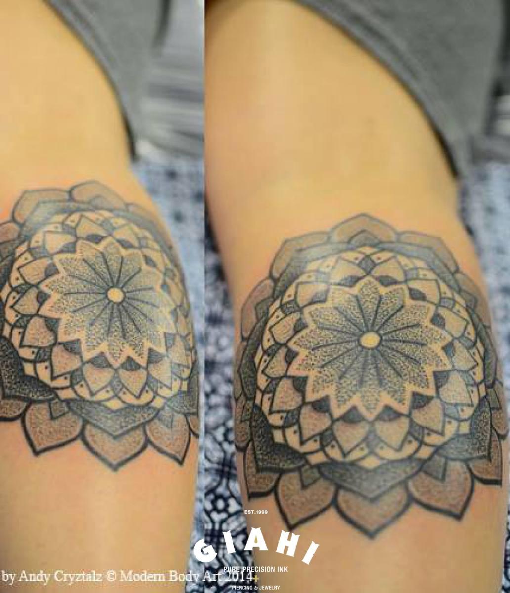 Many Levels Flower Mandala Dotwork tattoo by Andy Cryztalz