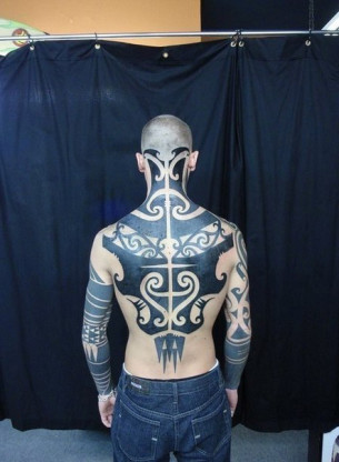 Maori Back and Sleeve Blackwork tattoo
