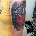 Maple Leaf Owl Realistic tattoo by Agat Artemji