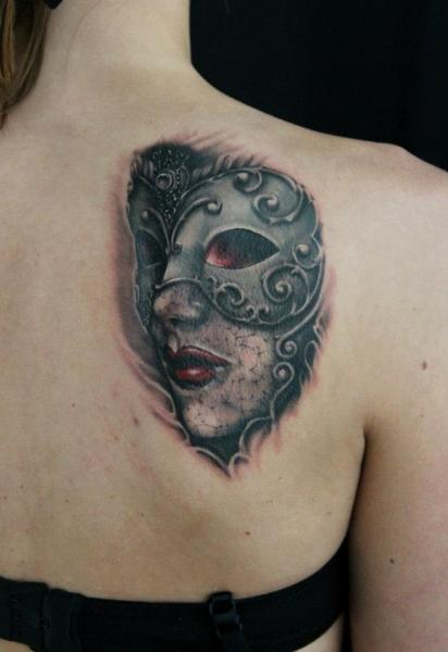 Masquarade Mask tattoo by Skin Deep Art