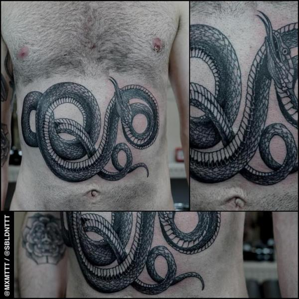 Meanding Snake Dotwork tattoo by MXM