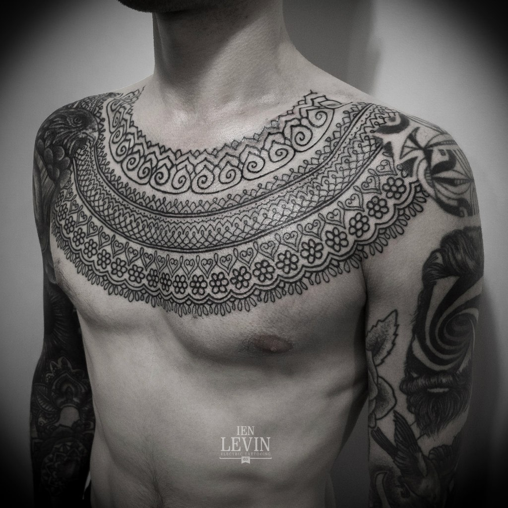 Mehendi Chest Tracery Blackwork tattoo by Ien Levin