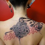 Mehendi Flowers Trash Polka Back tattoo by Xoïl
