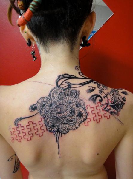 Mehendi Flowers Trash Polka Back tattoo by Xoïl