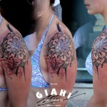 Mehendi Shoulder Flower tattoo by George Drone