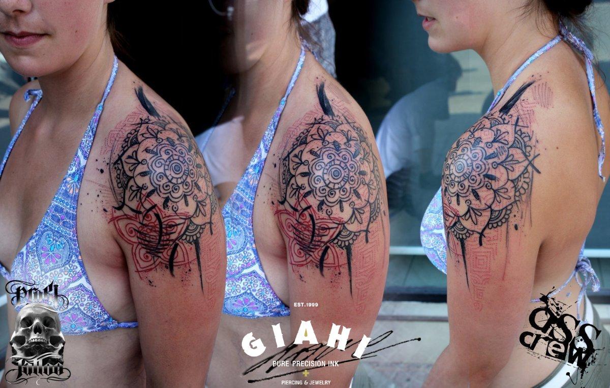 Mehendi Shoulder Flower tattoo by George Drone