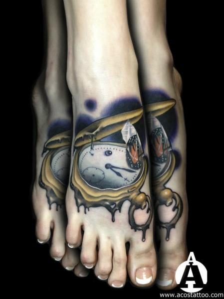 Melting Clock tattoo by Andres Acosta on Foot