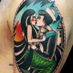Mermaid and Sailor Kiss Nautical tattoo