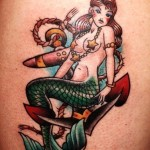 Mermaid on Anchor Nautical tattoo