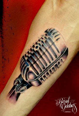 Metal Microphone Realistic tattoo by Resul Odabaş