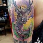 Moon Deer New School tattoo by Agat Artemji