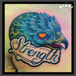 Moon Eagle Strength Lettering tattoo by Jack Gallowtree