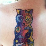 Moon and Sun Night and Day Fox Sea Nautical tattoo