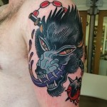 Morning Star Wolf Old School tattoo by Nick Baldwin