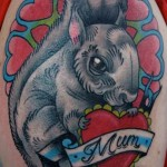 Mum Heart Squirrel Old School tattoo by Nick Baldwin