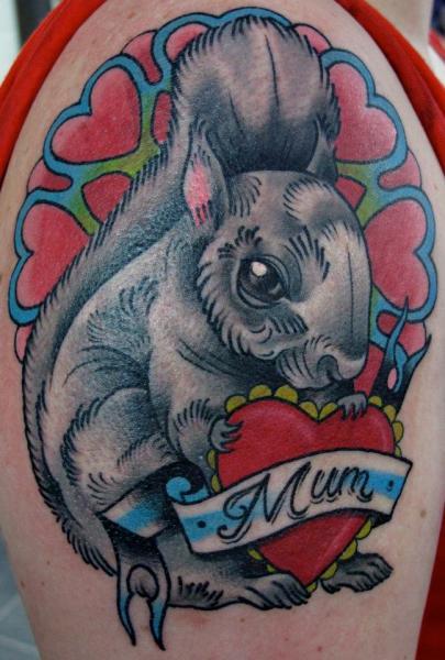 Mum Heart Squirrel Old School tattoo by Nick Baldwin