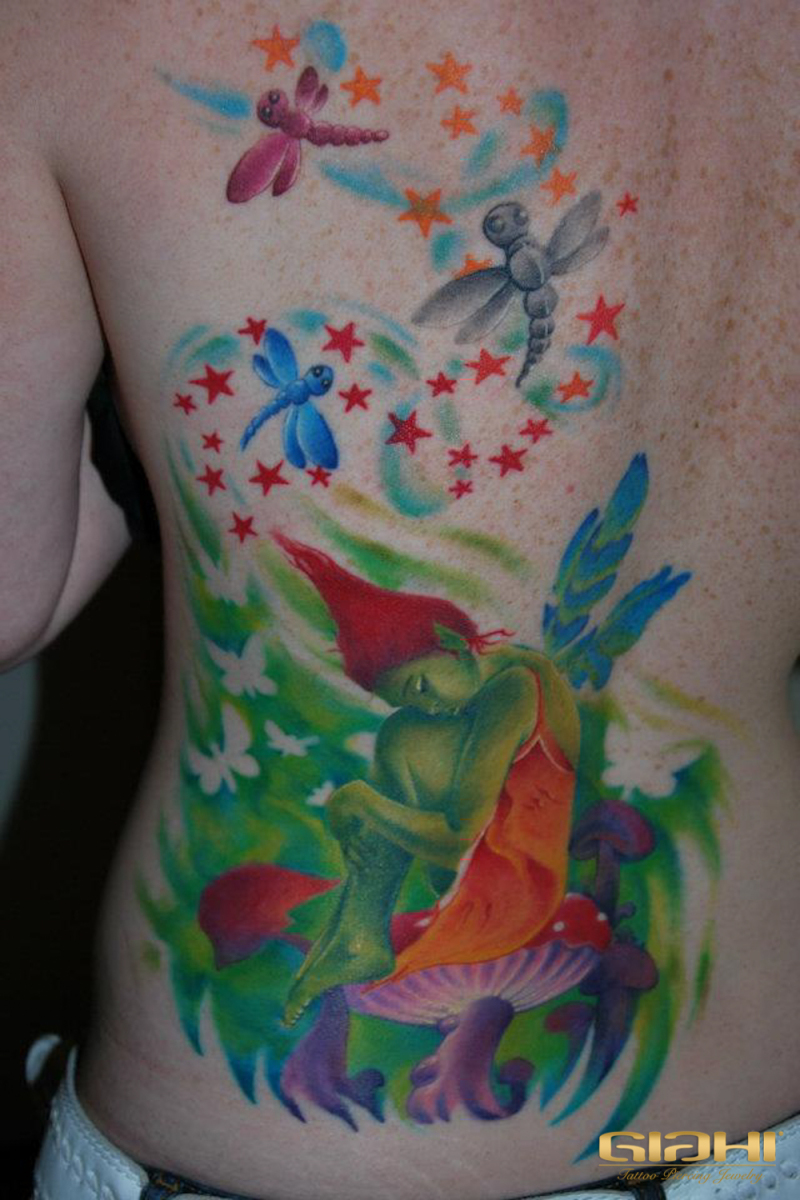 Mushroom Fairy Aquarelle tattoo by Szilard