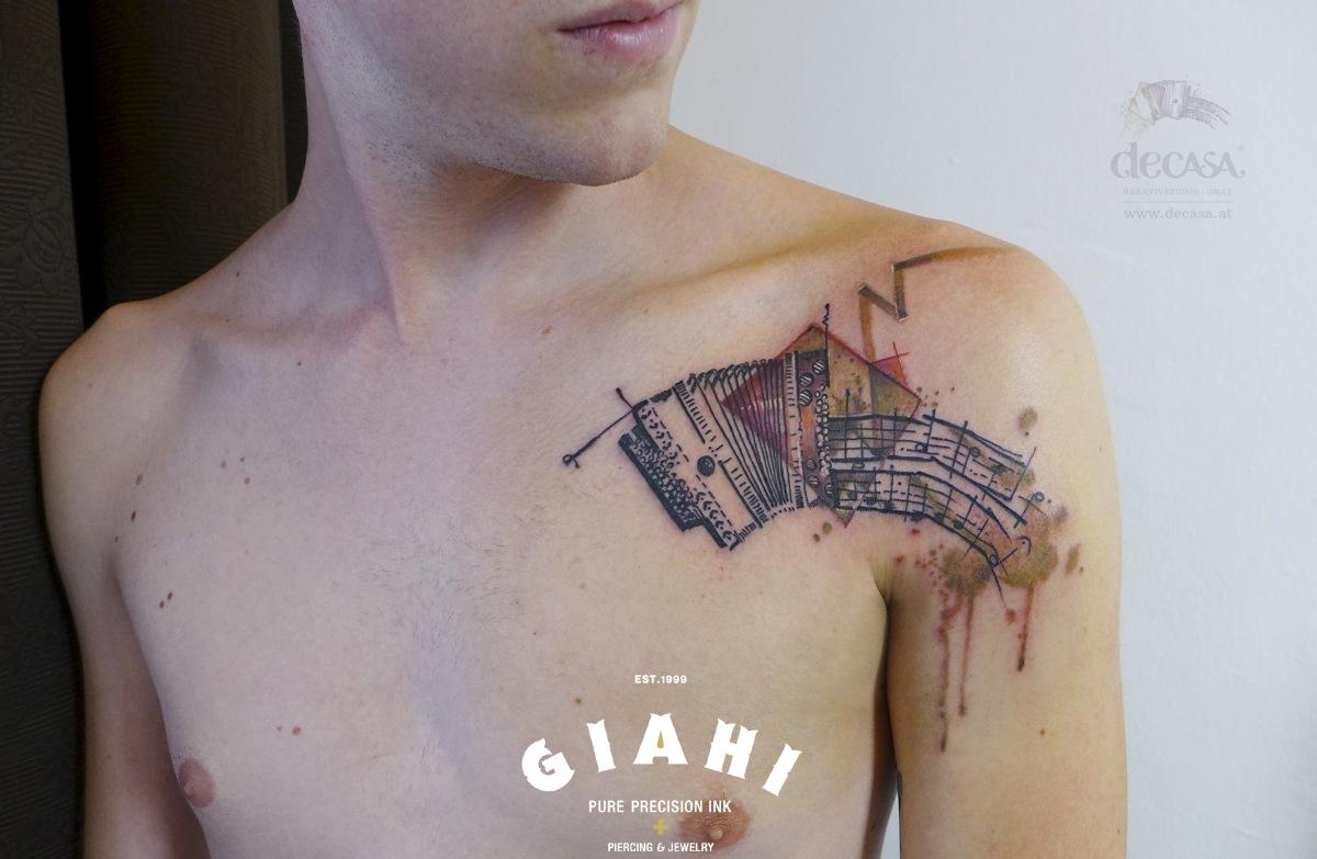 Music Notes Accordion tattoo by Carola Deutsch