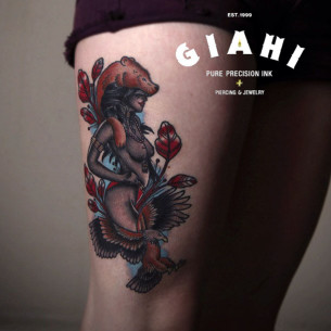 Indian Shaman Girl tattoo by Elda Bernardes