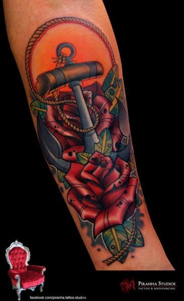 Nautical Anchor Roses tattoo by Piranha Tattoo Supplies