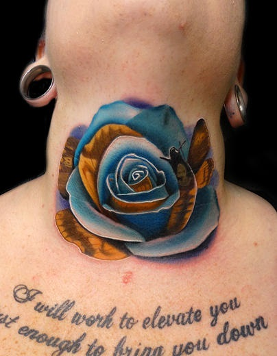 Neck Moth Rose tattoo by Andres Acosta