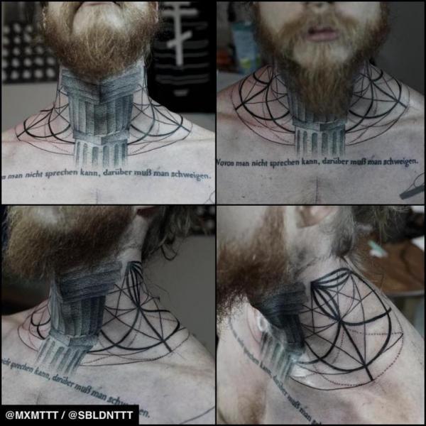 Neck Pillar Dotwork tattoo by MXM