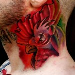 Neck Rooster tattoo by Piranha Tattoo Supplies