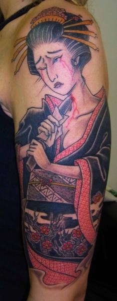 Neck Stabber Geisha Japanese tattoo by Illsynapse
