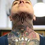 Neck Wave Lines Dotwork tattoo by Andy Cryztalz