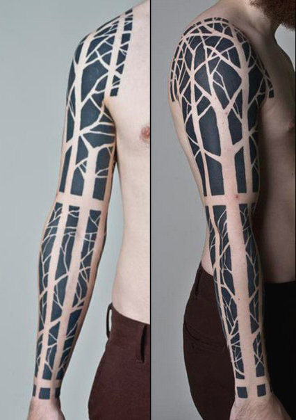 Negative Scary Forest Blackwork tattoo sleeve idea