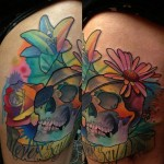 Never Say Lettering Skull Aquarelle Scull tattoo by Transcend Tattoo