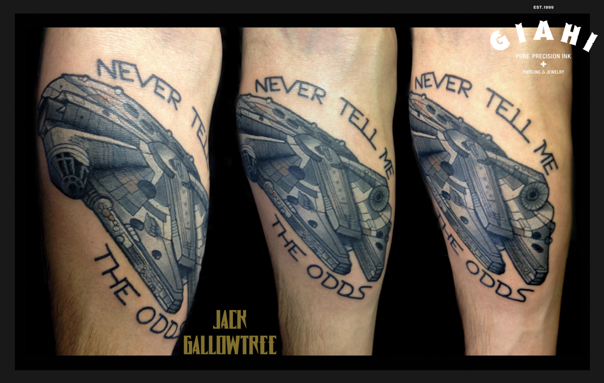 Never Tell Me The Odds Ship Star Wars tattoo by Jack Gallowtree