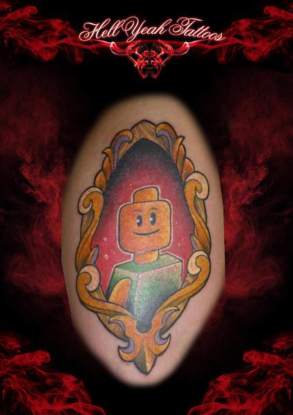 New School Framed Man Lego tattoo by Hellyeah Tattoos