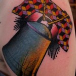 New School Liberty Bell tattoo by Nick Baldwin