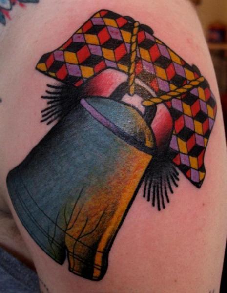 New School Liberty Bell tattoo by Nick Baldwin