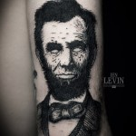No Apples of Eyes Lincoln Blackwork tattoo by Ien Levin