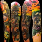 Nuclear War People tattoo sleeve by Transcend Tattoo