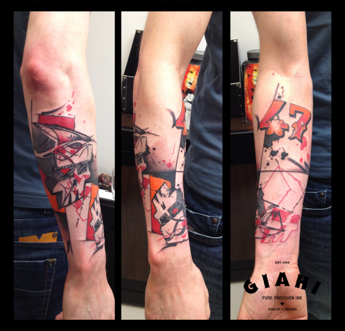 Number 47 Square Skulls Trash Polka tattoo by Live Two