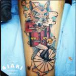 Old Bicycle Fox tattoo by Elda Bernardes