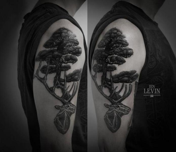 Old Oak Between Horns Stag Dotwork tattoo