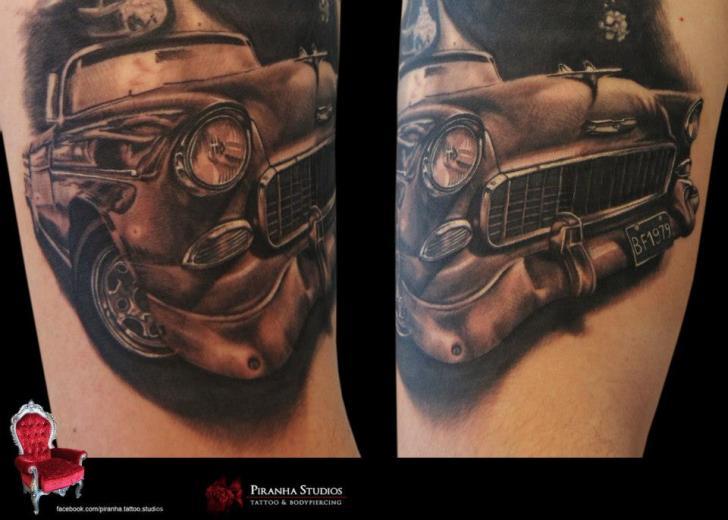 Old Retro Car Graphic Tattoo By Piranha Tattoo Supplies Best